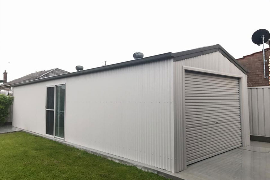 Garage with whirly birds for ventialtion
